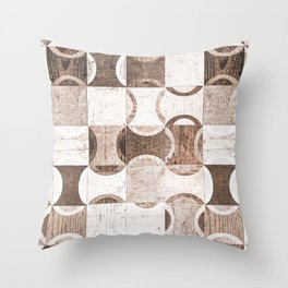 Retro Wood Blocks // Desaturated Grain Detail Circle and Square Pattern Throw Pillow