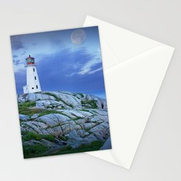 Lighthouse at Peggy's Cove in the Moonlight Stationery Cards