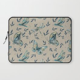 Butterflies and Dragonflies Teals and Beiges Laptop Sleeve