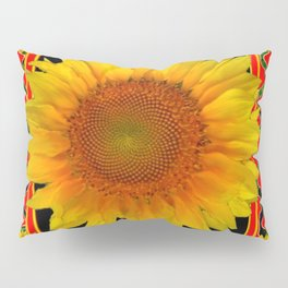RED-TEAL BLACK  DECO YELLOW SUNFLOWERS Pillow Sham