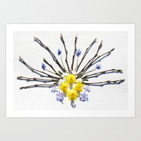 Spring flowers and branches I Art Print