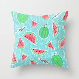 Hand-drawn crayons Watermelons Play on textured teal Throw Pillow