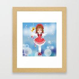 Mini Me Stars: Red Sakura Framed Art Print