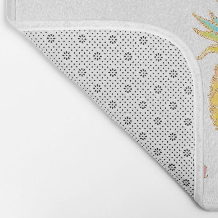 Be a pineapple- Pastel Gatsby Summer Glitter fruit and Saying Bath Mat