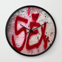 sex and the city Wall Clocks featuring Sex by Lior Blum
