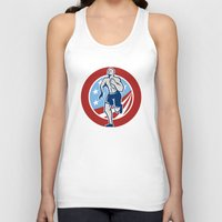 crossfit Tank Tops featuring American Crossfit Runner Running Retro by patrimonio