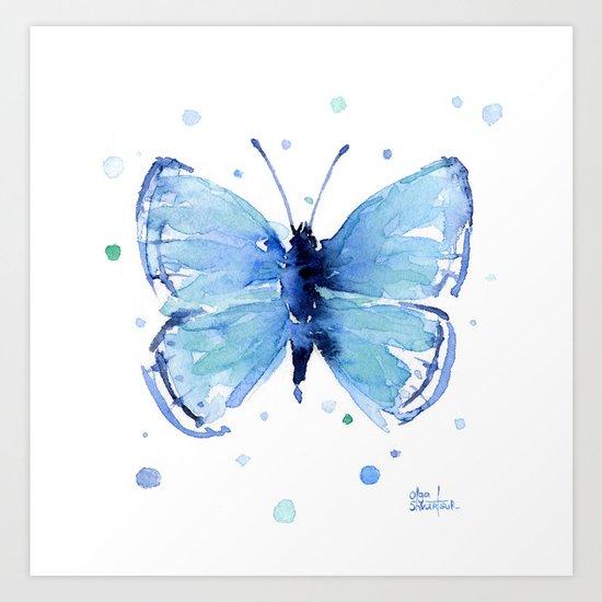 Blue Butterfly Watercolor Butterflies Animals Art Print
