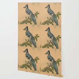Vintage Illustration of a Blue Jay (1880) Wallpaper