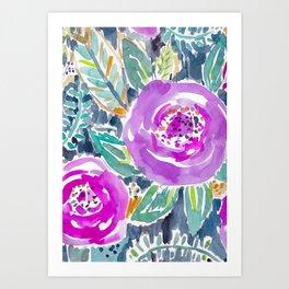 Gardens of Bolinas Purple Floral Art Print