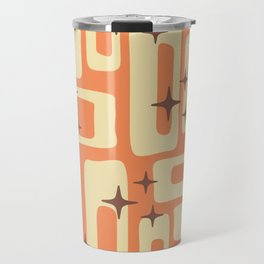 Retro Mid Century Modern Abstract Pattern 576 Orange Brown Travel Mug