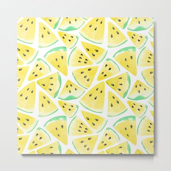 Yellow watermelon slices pattern Metal Print