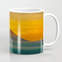 Mountain Volcano In The Distant Green Yellow Orange Sunset Hues Landscape Photography Coffee Mug