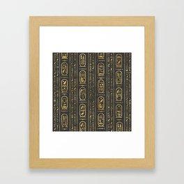 Egyptian hieroglyphs Gold on Leather Framed Art Print