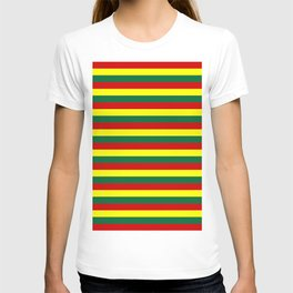 red green yellow stripes T-shirt