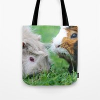 pigs Tote Bags featuring guinea pigs by Christine baessler