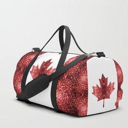 Canada flag red sparkles Duffle Bag