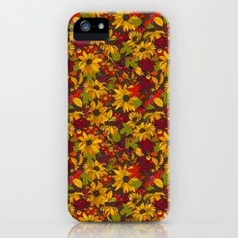 autumn flowers and leaves iPhone Case