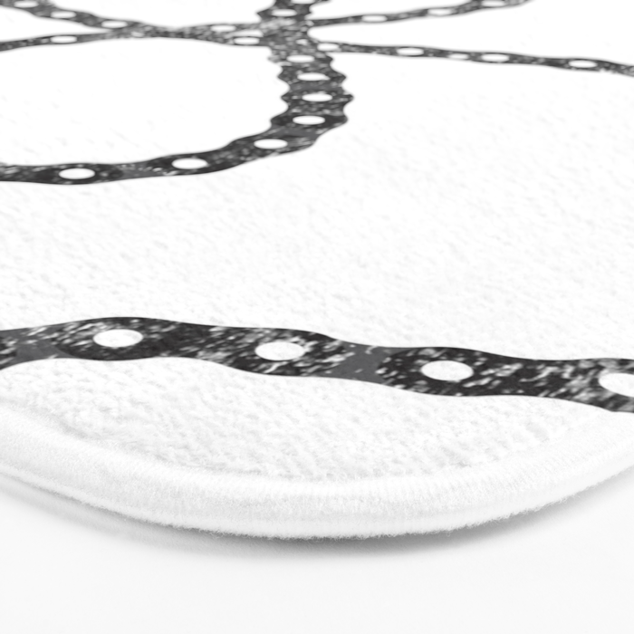 bicycle chain repeat pattern Bath Mat