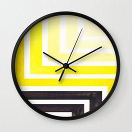 Yellow Mid Century Modern Watercolor Colorful Ancient Aztec Art Pattern Minimalist Geometric Pattern Wall Clock
