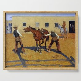 """Frederic Remington Western Art """"His First Lesson"""" Serving Tray"""