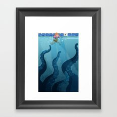 Childhood Fear: The Octopus in the Deep End Framed Art Print
