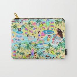 Aloha Hawaiian Tropical mermaid , flamingos, yoga floats floral Carry-All Pouch
