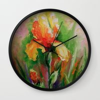 iris Wall Clocks featuring Iris by OLHADARCHUK