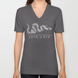 Join or Die in Black and White Unisex V-Neck