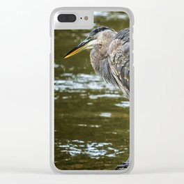 Rainy Day Heron Clear iPhone Case