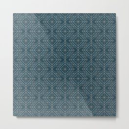Minimal Geometric Pattern on Aqua Background Metal Print
