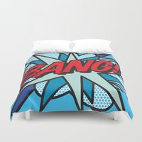 comic book Duvet Covers featuring Comic Book BANG! by The Image Zone