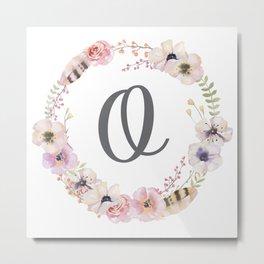 Floral Wreath - O Metal Print