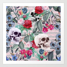 Flowers and Skulls (Pink) Art Print