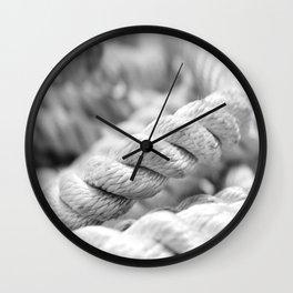 Ropes black and white macro Wall Clock