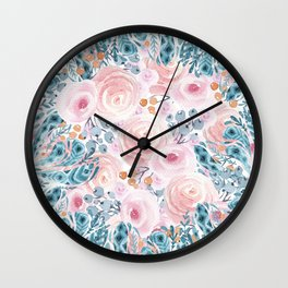 Blush pink blue coral watercolor hand painted floral Wall Clock