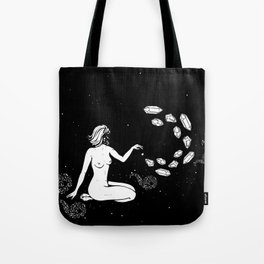 Space Goddess Putting Spells on the Stars Tote Bag