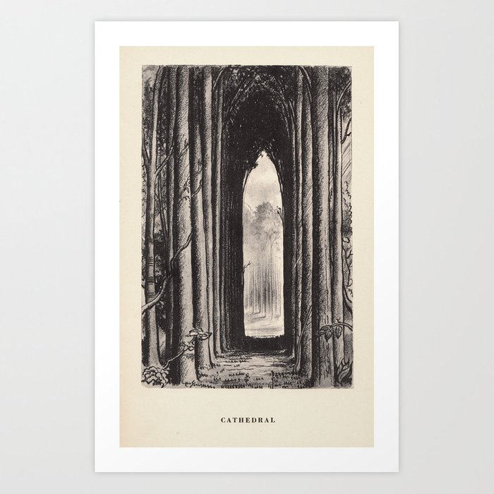 """""""Cathedral"""" from """"Trees at Night"""" by Art Young Art Print"""