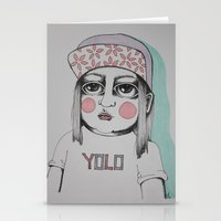 yolo Stationery Cards featuring Yolo  by Agnes Emilia
