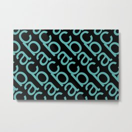 ABC turquoise pattern black background Metal Print