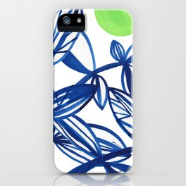 Navy blue and lime green abstract leaves iPhone Case
