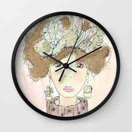 My fats thoughts (cactus print) Wall Clock
