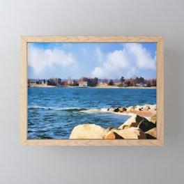 New England Shoreline - Painterly Framed Mini Art Print