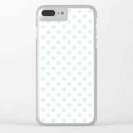 Small Polka Dots - Light Cyan on Cyan Clear iPhone Case