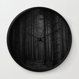 The Dense & Foggy Forest (Black and White) Wall Clock