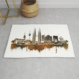 Kuala Lumpur skyline city brown Rug
