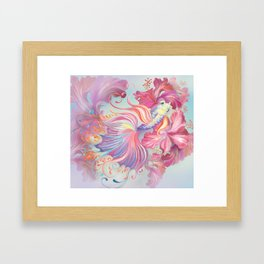 Pastel Fish Drawn Framed Art Print