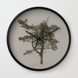 Solo tree - Minimalistic tree in Lapland, Finland against snow Wall Clock