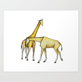 Jerry and Solange - The Slighty Abstract Giraffes Art Print
