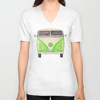 volkswagon V-neck T-shirts featuring VW Type 2 by One Curious Chip