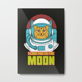 I love you to the Moon Metal Print